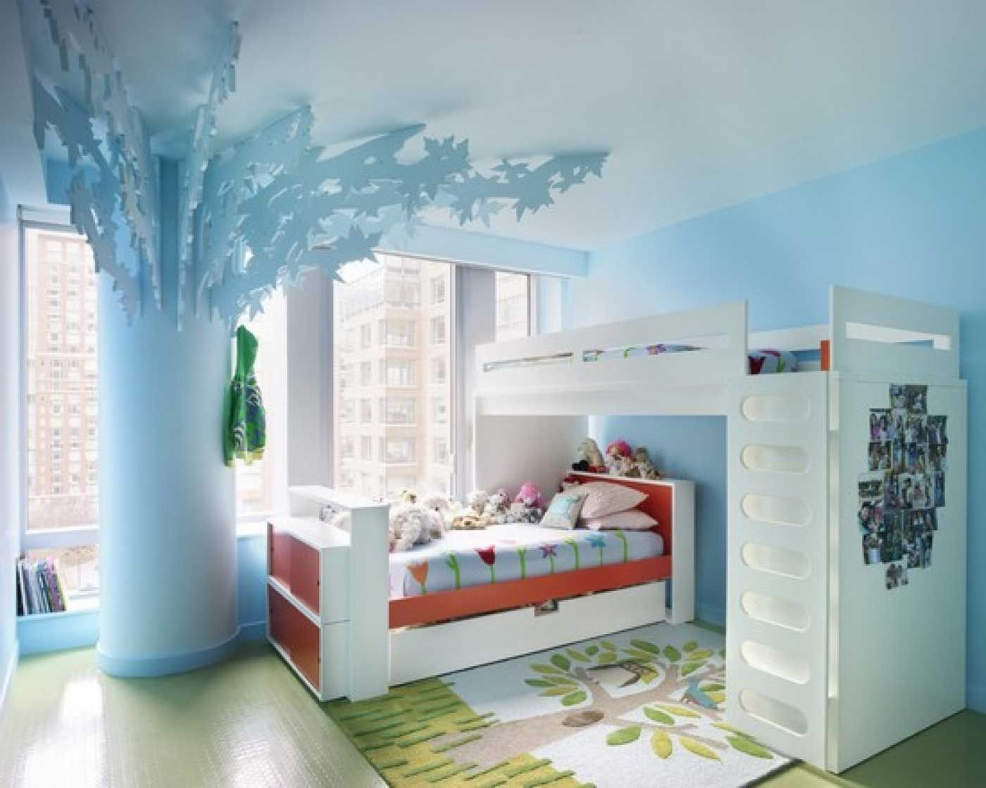 Cool kids room ideas for small bedroom designs with creative white colored loft bed idea and interesting white frame bed design also calm blue accents for