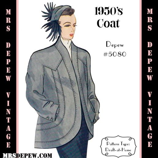 1950\'s Raglan Sleeve Coat Any Size #5080 (1950) vintage sewing ...