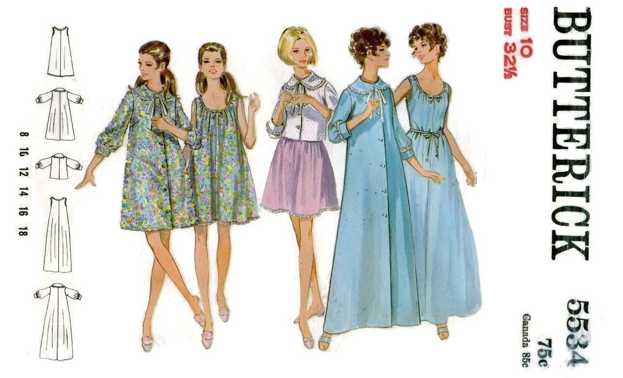 1960s Butterick 5534 Baby Doll Nightgown Robe & Jacket Vintage ...