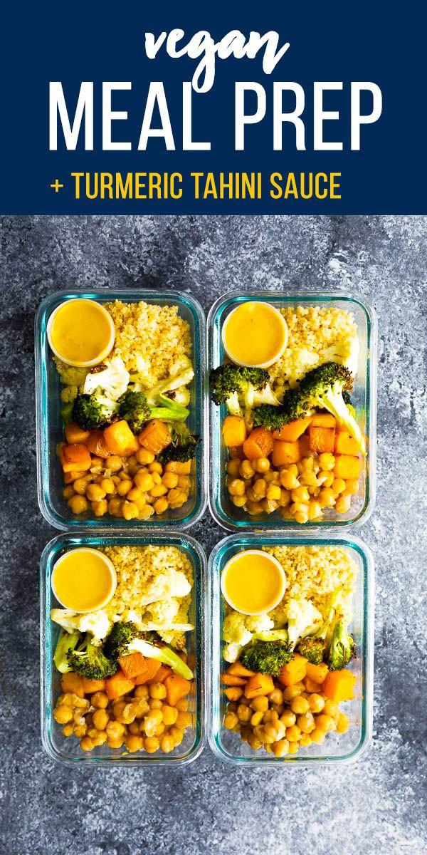 Vegan Roasted Vegetable Meal Prep With Turmeric Tahini Sauce