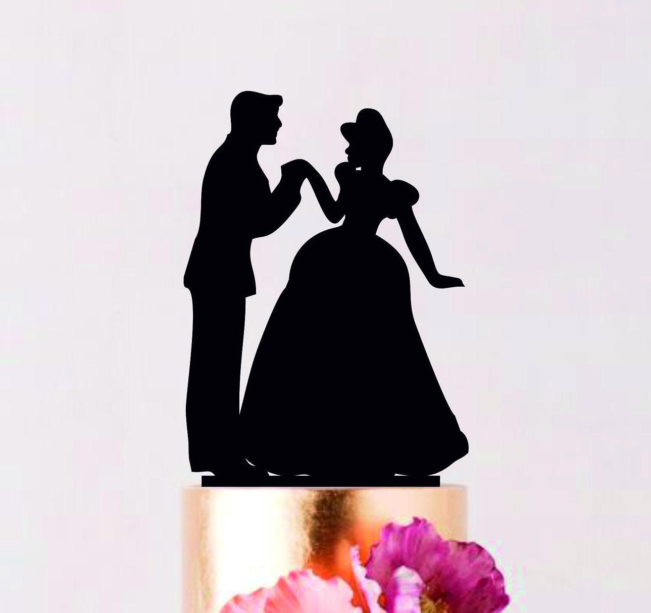 Cinderella and Prince Wedding cake topper, Wedding Silhouette ...