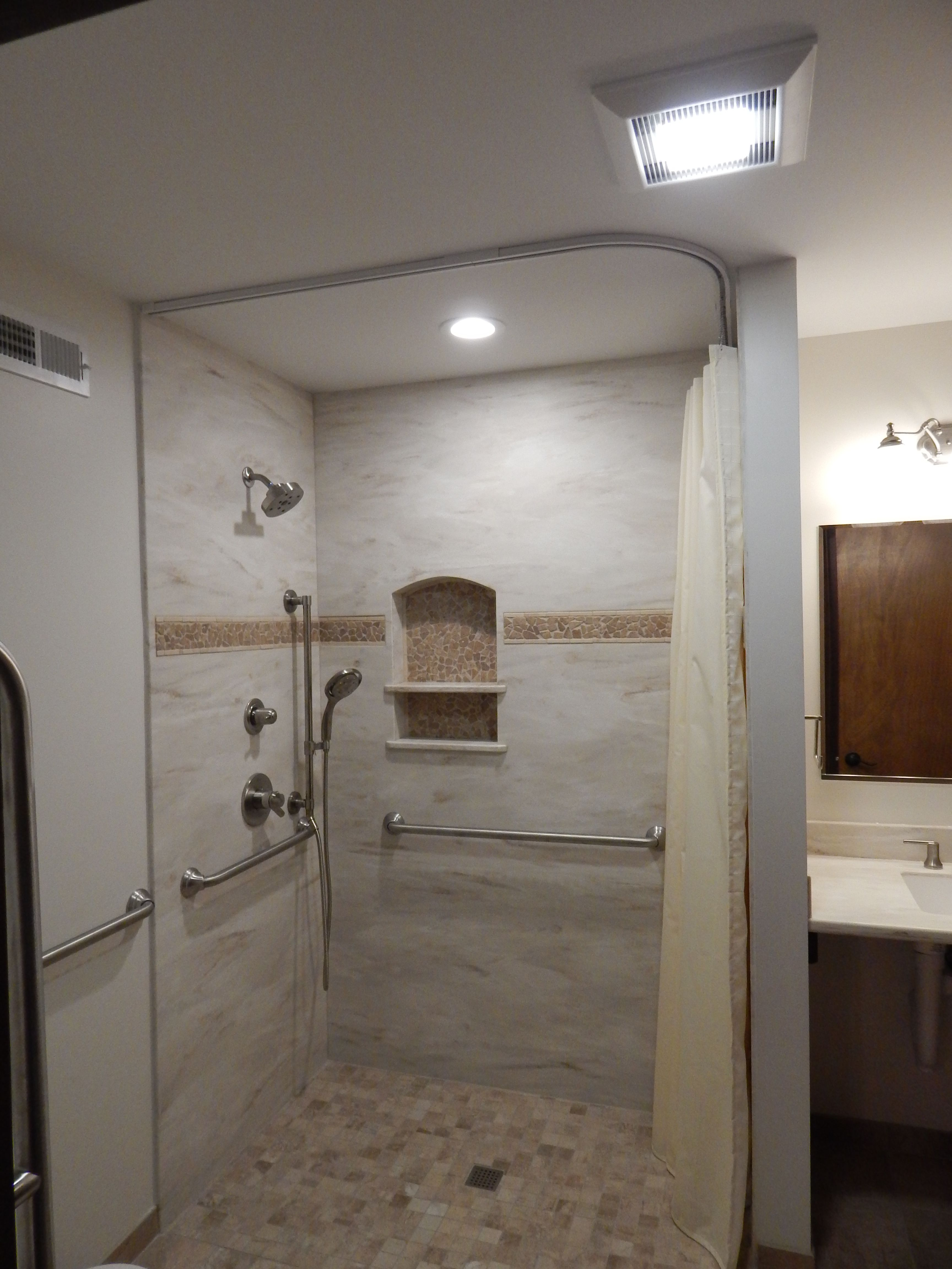 This Is Our Custom Build Zero Barrier Shower With Corian Wall Surround In The Color Witch Hazel A Corian Shower Walls Bathroom Remodel Master Bathrooms Remodel