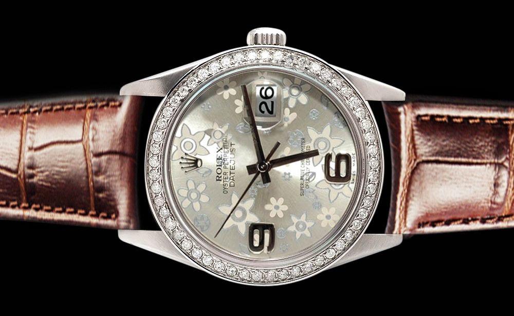 datejust rolex diamond bezel men women watch brown leather silver flower dial