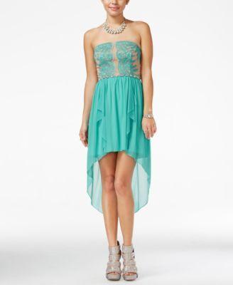 dcf9a44c889 City Studios Juniors  Illusion-Lace High-Low Dress