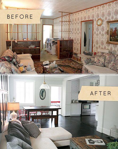 Before After An Ontario Bungalow Brings The Sea Indoors Living Room RemodelFloor