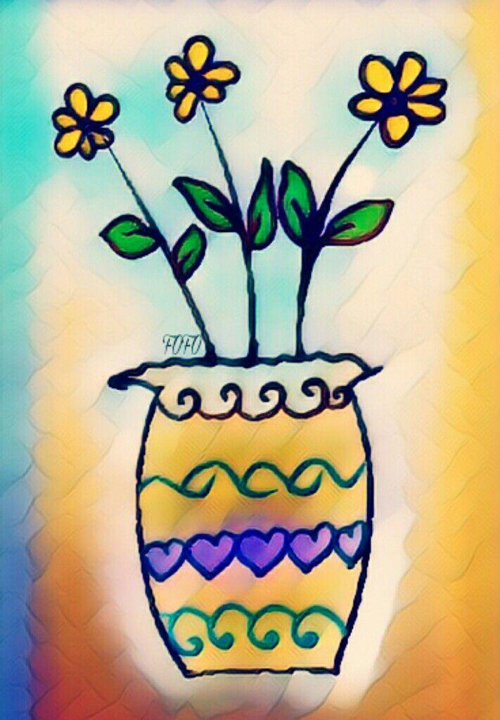 Art Flower Draw Vase Green Plant Paint In Love رسم ورد تصميم وردة ألوان خربشات Flower Drawing Plant Painting Green Plants