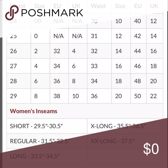 Size chart for women s jeans size chart pulled from buckle com