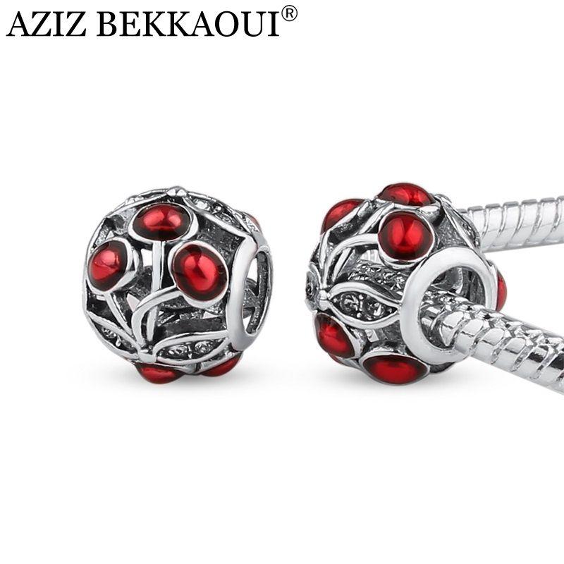 Cute cherry beads fit pandora charm bracelet necklace vintage cute cherry beads fit pandora charm bracelet necklace vintage silver women jewelry original european diy beads sciox Images