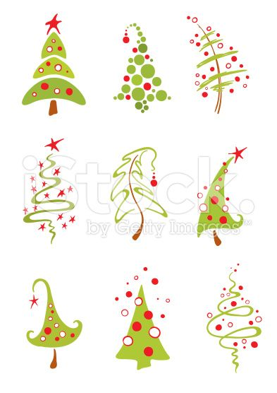 Modern Christmas Trees Stock Vector Art 17246017 Christmas Doodles Christmas Drawing Modern Christmas Tree