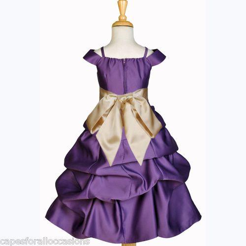 Plum Purple Yellow Gold Spaghetti Cap Sleeve Flower Girl Dress 2 4 6 8 10 12 14 | eBay @Katie Schmeltzer Schmeltzer espy