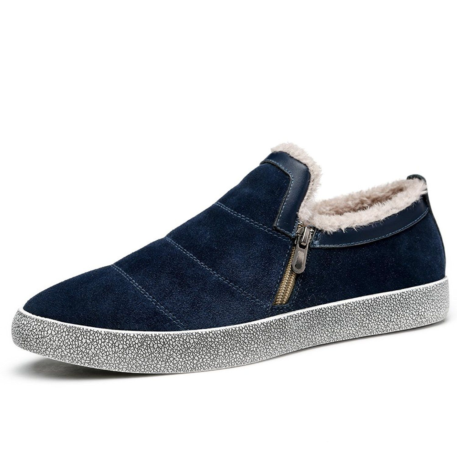 Men's Winter Warm Suede Fur Lined Low top Work shoes Snow Boots