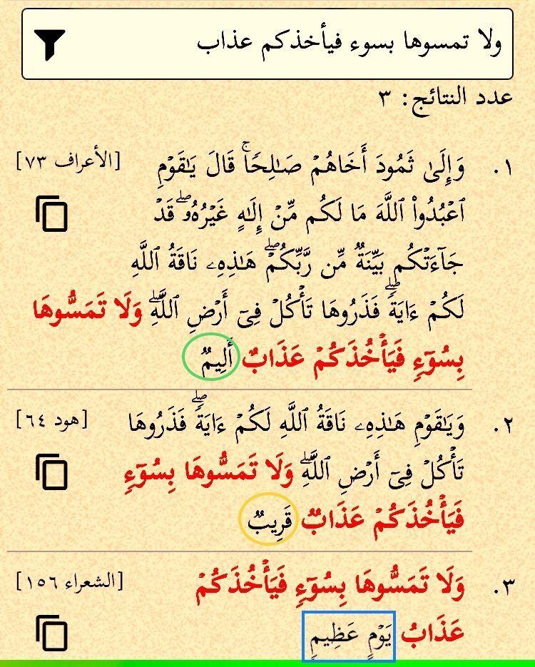 ولا تمسوها بسوء فيأخذكم عذاب أليم قريب يوم عظيم هذه العبارة لم ترد إلا في هذه المواضع الثلاثة ودائما على لسان صالح عليه السلام والم Math Quran Wisdom