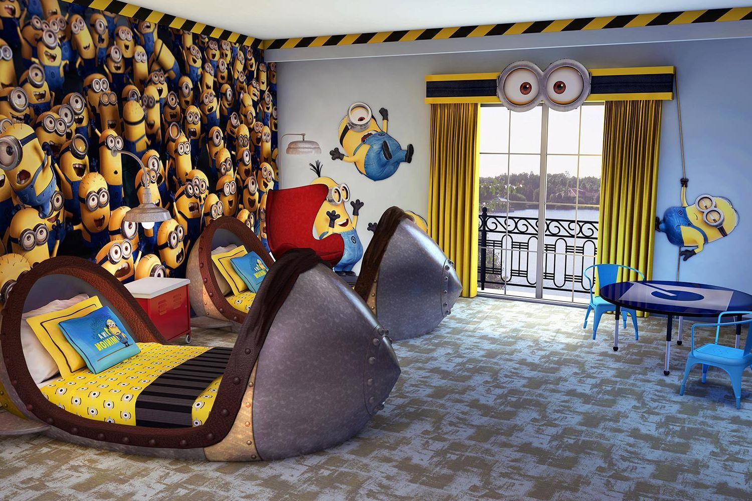 Great kids room with Minions wall design also minions wall decals ...