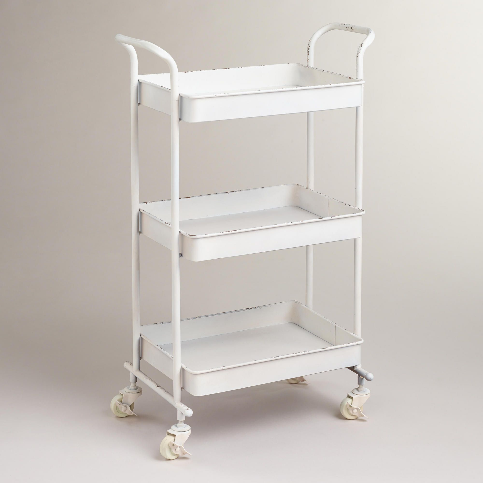 White Austin 3Tier Metal Cart From World Marketcrafted Of Metal Enchanting Small Bathroom Cart Inspiration