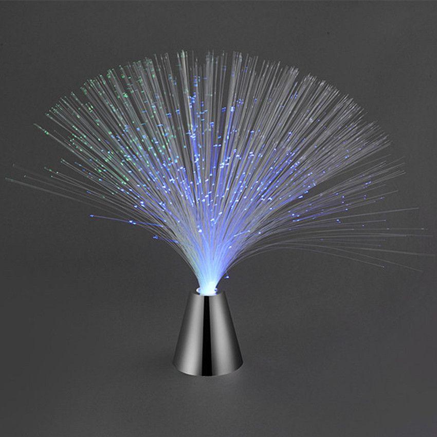 Led Multi Colour Changing Fibre Optic Fountain Night Light Lamp Home