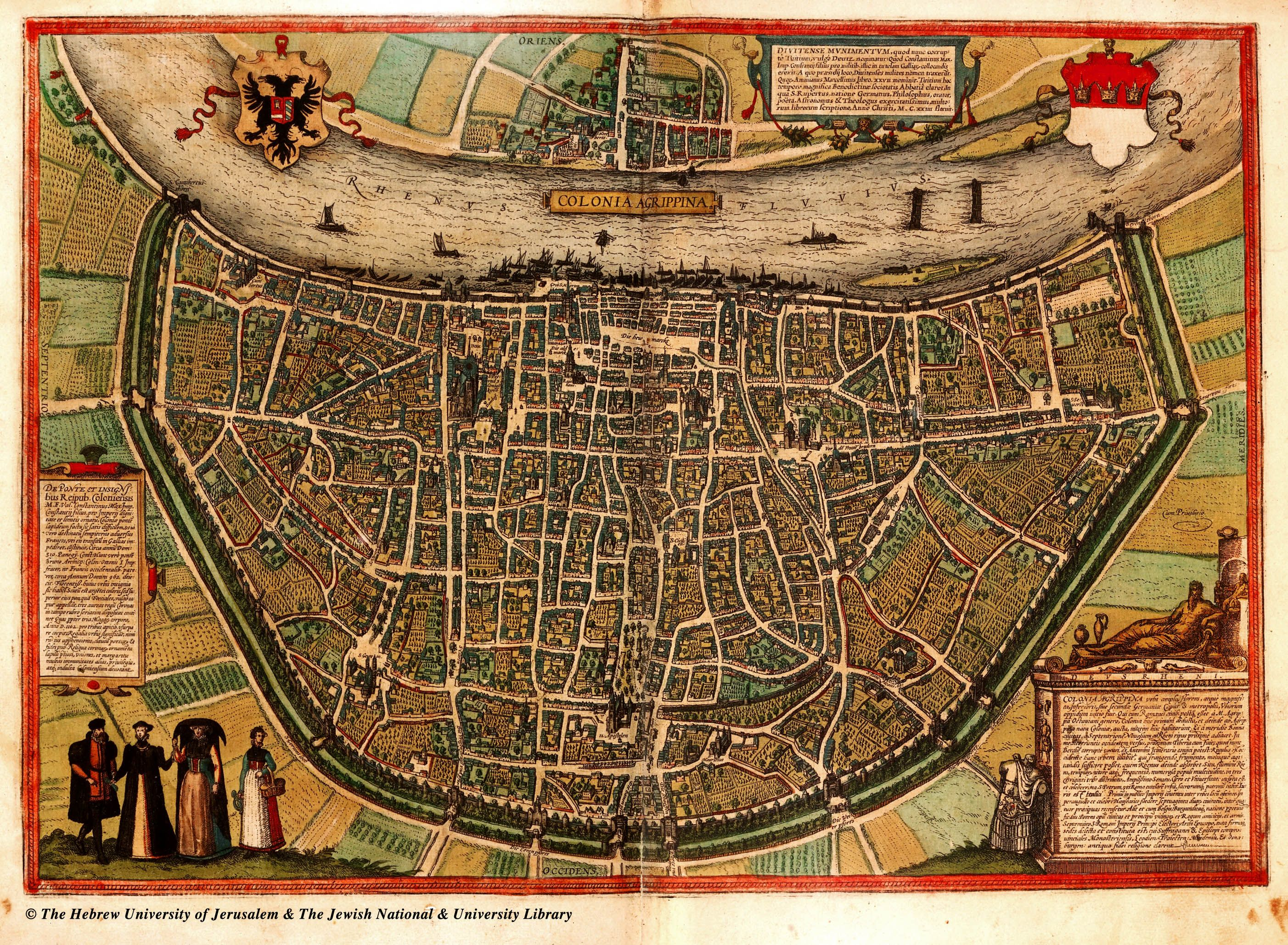 16th Century Map of Cologne Germany Hay Market is located in the