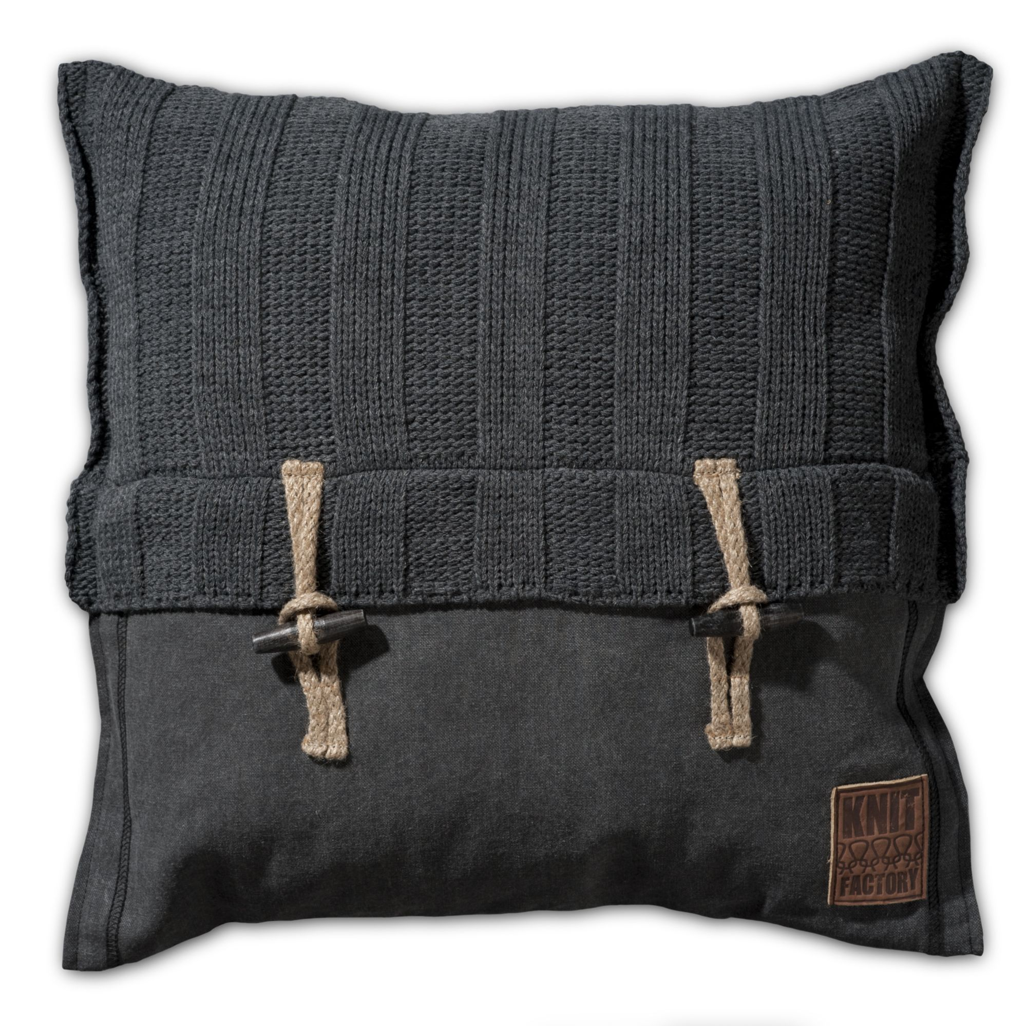 Pillow 50x50 - 6x6 Rib VZ antra by Knit Factory www.knitfactory.nl