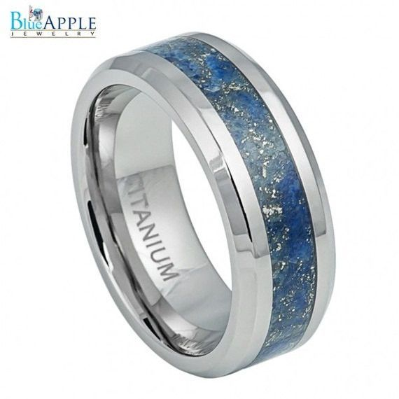 8mm Wedding Engagement Anniversary His Hers Band Anium Ring With Royal Blue Specks Riverstone Inlay Fashion