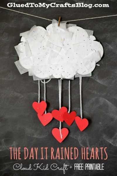 The Day It Rained Hearts  Cloud Kid Craft & Free Printable is part of Kids Crafts Activities Free Printables - Tissue Paper Cloud Kid Craft & Free Printable  This kid friendly Valentine's Day themed tutorial goes PERFECTLY with the book  The Day It Rained Hearts