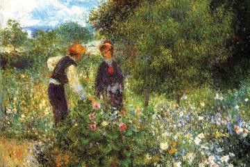 Picking Flowers 12x18 Giclee on canvas