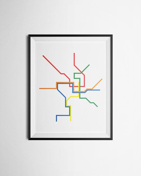 Washington Dcdc Subway Map.Transit Map Of Washington D C Dc Metro Metrorail Minimalist Print