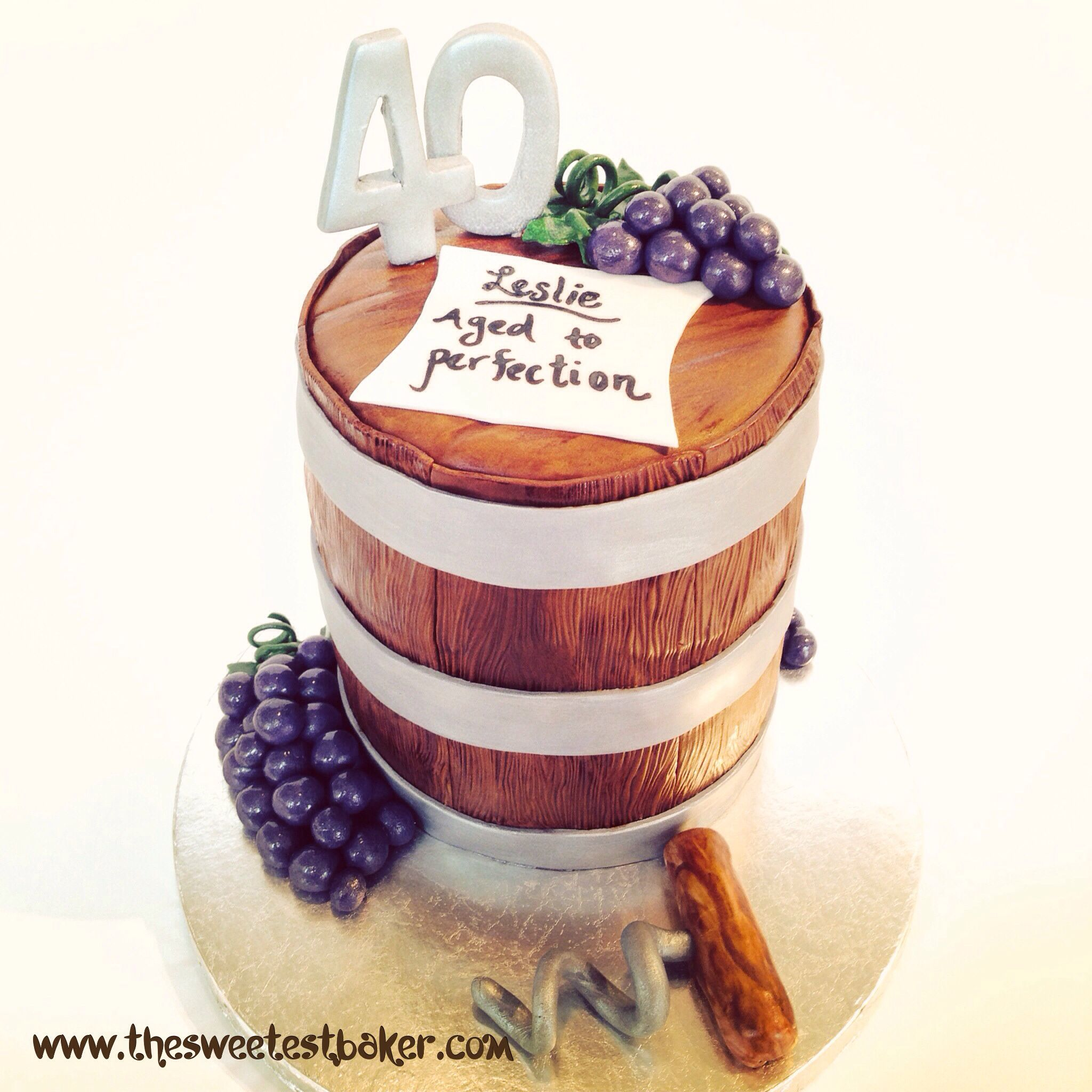Wine Barrel Cake. Wine Themed Cake. Www.thesweetestbaker