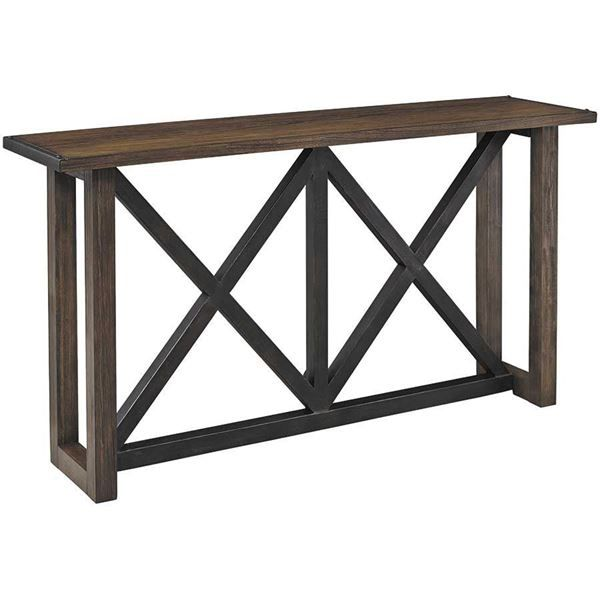 The Zenfield Sofa Table By Ashley Furniture Brings A Vintage Look At An Unbeatable Price To Your Space Available Sofa Table Console Table