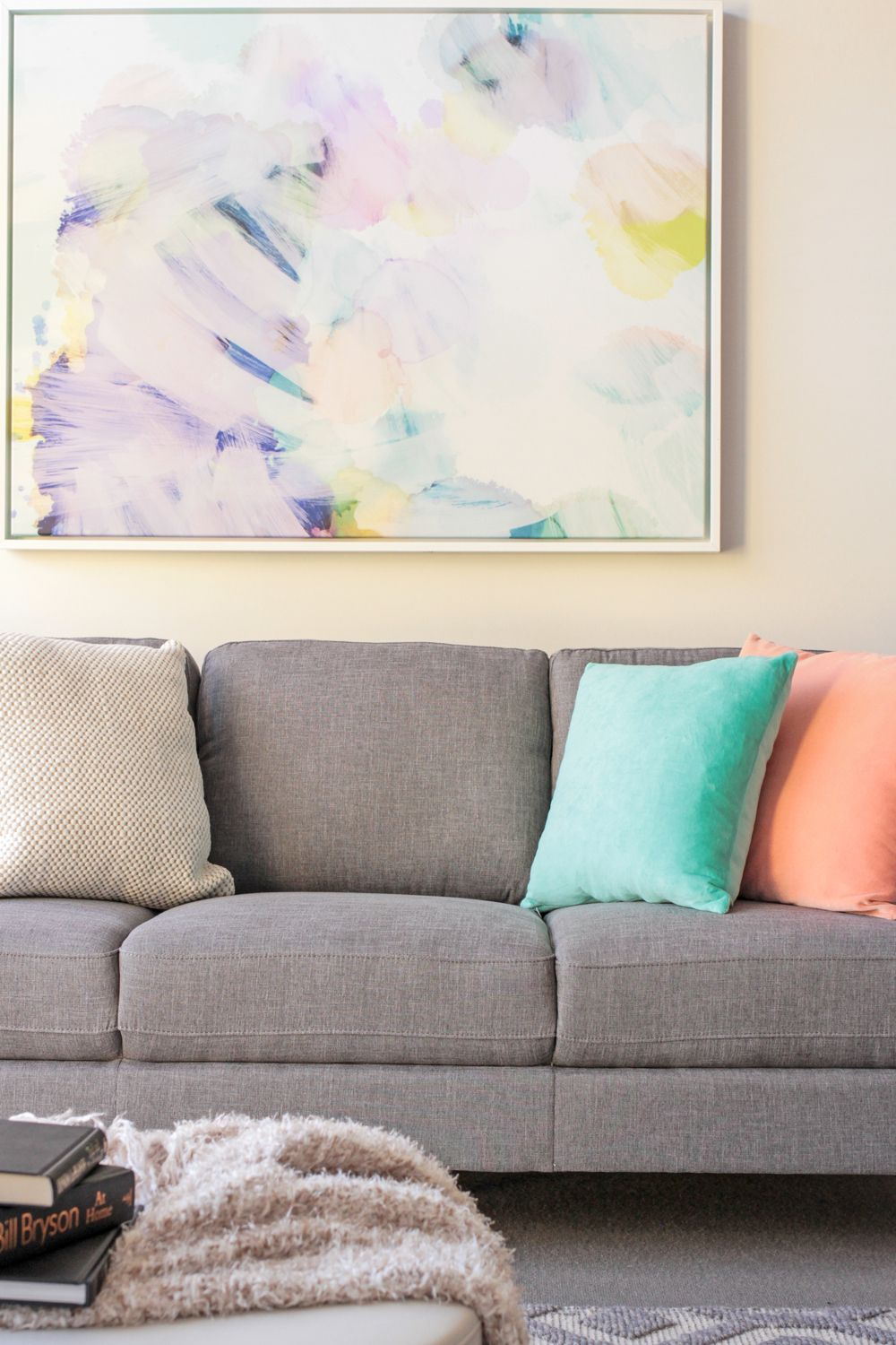 Open Plan Living Dining Kitchen Pastel Bright Cushions Grey Sofa Styling Sofa Styling Gray Sofa Styling Open Plan Living