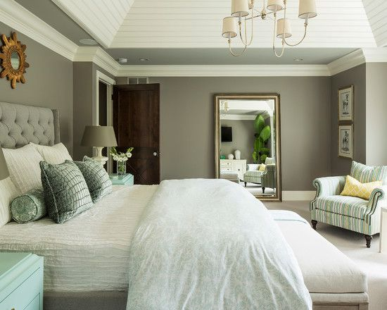Color Design For Bedroom Love This Wall Color With The White Plank Ceiling And Chunky Crown