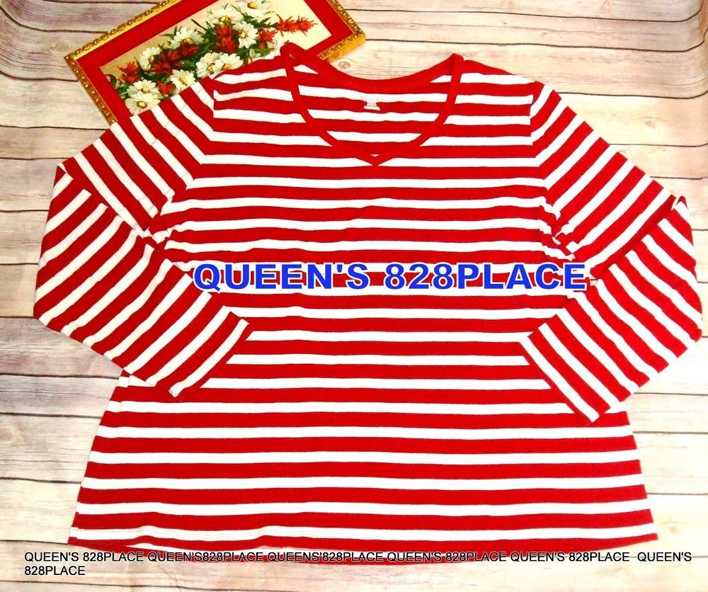 c7b7901e023eb ST JOHNS BAY Women s Plus Size 3X Red white Striped Long sleeve Top Shirt  Blouse  StJohnsBay  Tunic  Casual