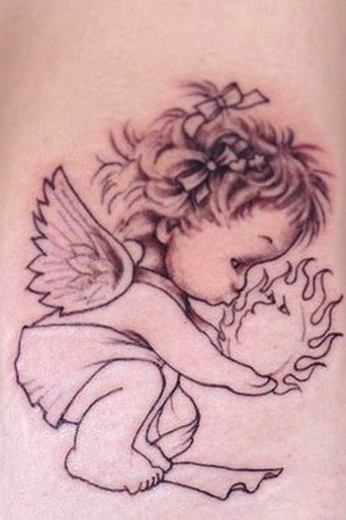 Halaah Io Baby Angel Tattoos For Men Baby Angel Tattoo Baby Name Tattoos Baby Tattoos