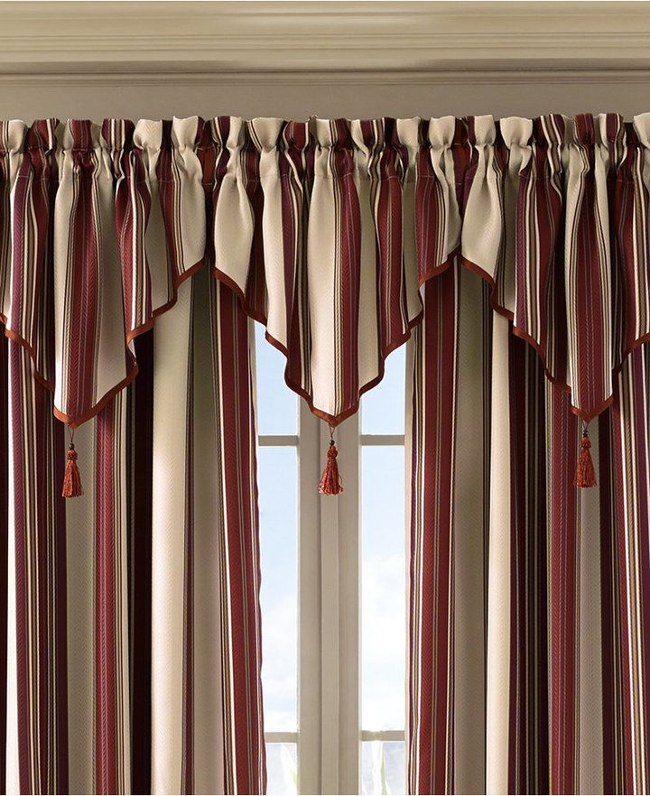 J Queen New York Queen Street Jasper Stripe 40 X 21 Rod Pocket Ascot Valance Bedding Curtain Decor Elegant Curtains Home Curtains