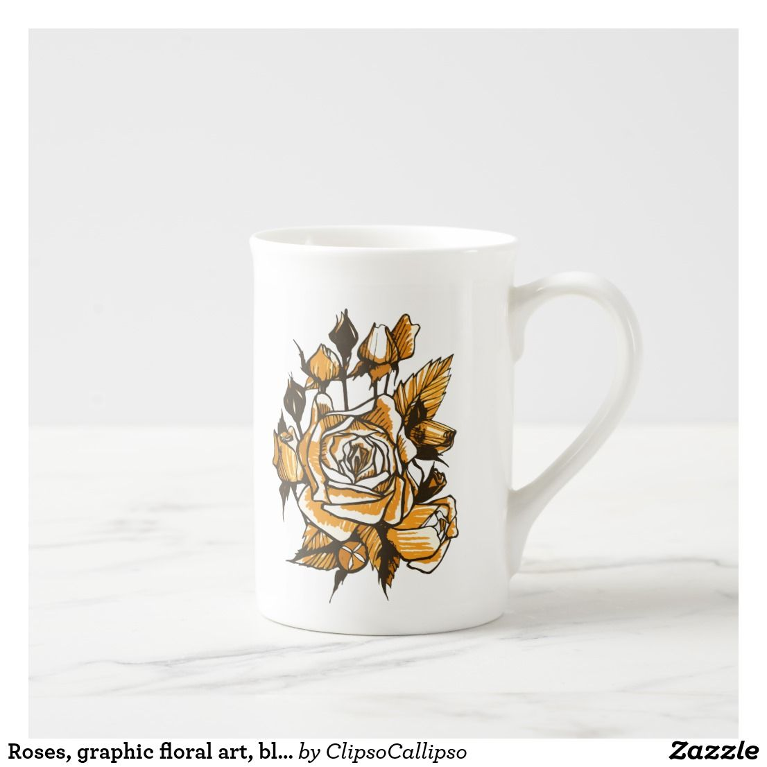 Roses, graphic floral art, blooming rose flowers tea cup