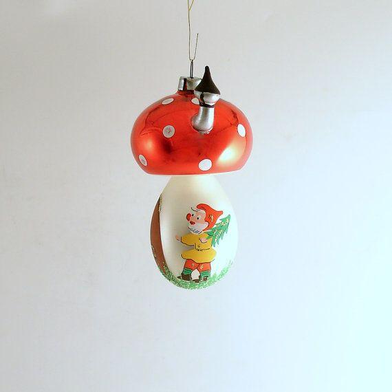Vintage Christmas Ornament Glass Mushroom House by efinegifts