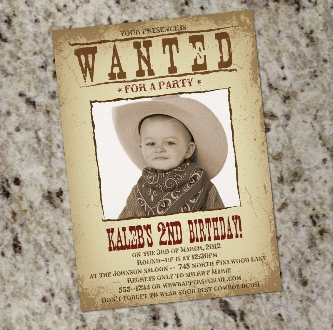 WANTED POSTER Western Themed Party Invitation - Printable Design ...