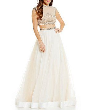 c42920cfae92 Glamour by Terani Couture Mock Neck Beaded Top Two-Piece Ball Gown ...
