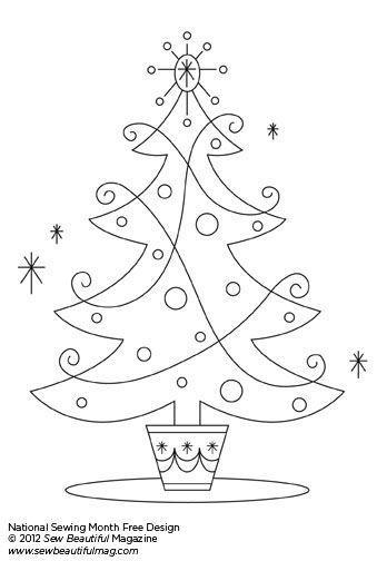 Christmas Embroidery Patterns Free.Sew Beautiful Blog Free Daily Design Retro Christmas Tree