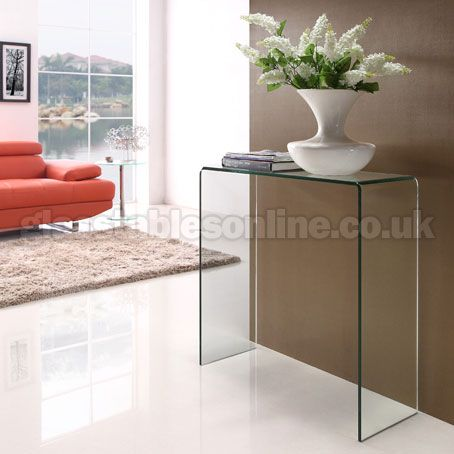A very stylish yet practical small glass console table which is