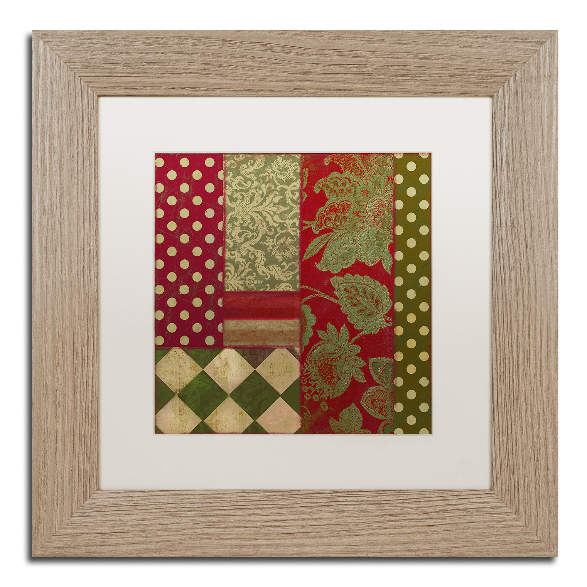 Color Bakery 'Merry Christmas Patchwork Iii' Matted Framed Art