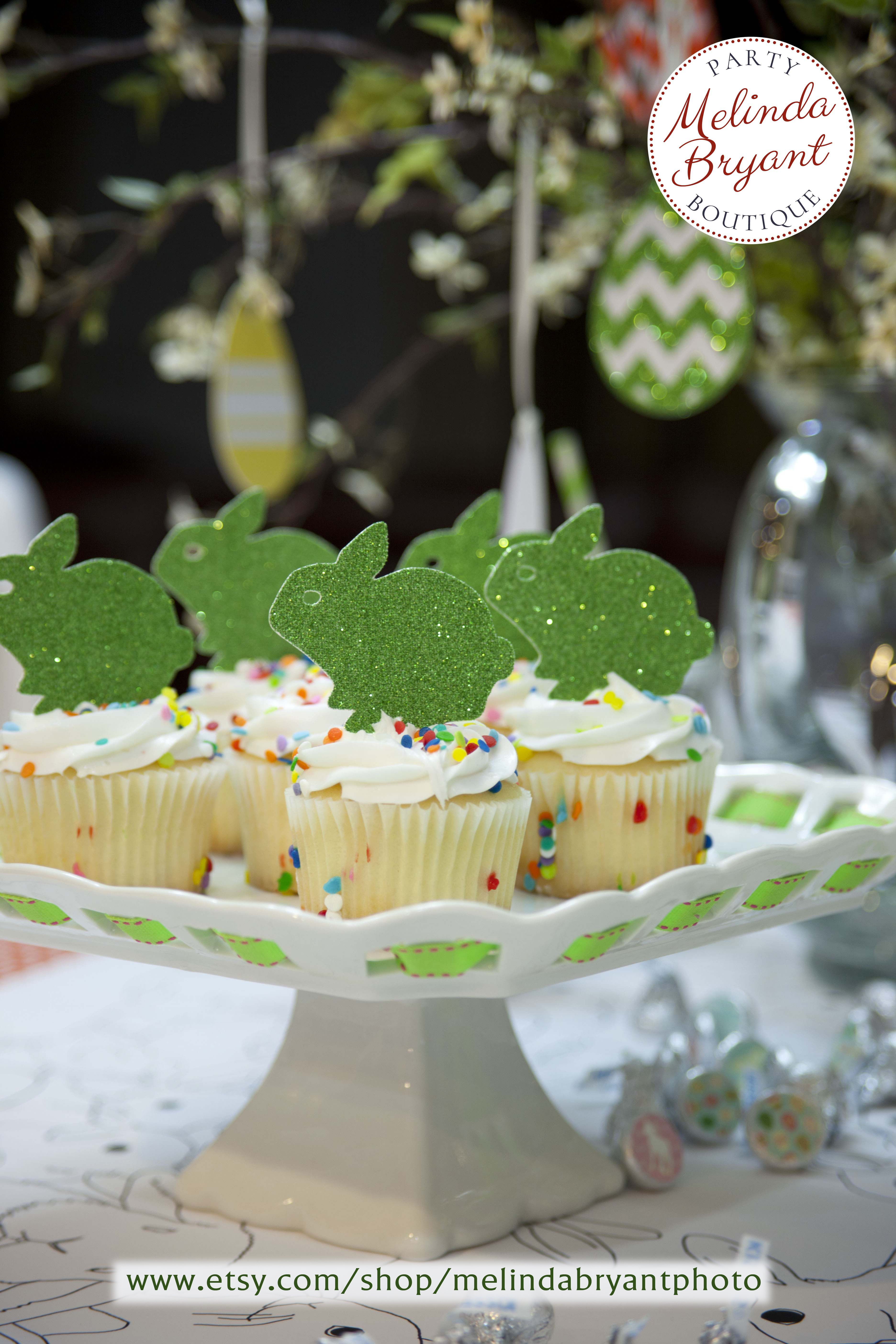 Baby bunny cupcake toppers with a bit of sparkle (in assorted colors). Not only cute for Easter, but they'd be darling at a baby shower, first birthday, garden party, Peter Rabbit themed party..... You get it. Click on the photo to start shopping!  //  ideas, inspiration, supplies #melindabryantpartyboutique #melindabryantphoto #peterrabbit