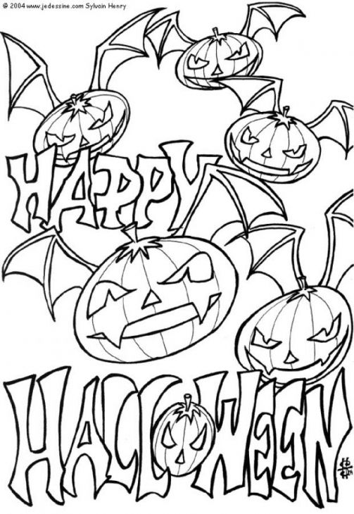 Happy Halloween Everyone Printable Coloring Page For Children ...