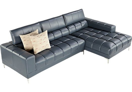 Shop For A Sofia Vergara Sybella Blue 2 Pc Sectional At Rooms To Go Find Leather Sectionals That Leather Sectional Rooms To Go Sectional Living Room Sectional