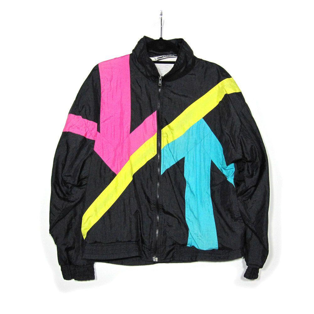 Longstreet 1980s Vintage Track Jacket / Neon Pink and ...
