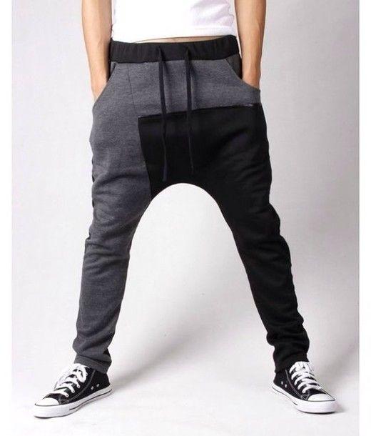 pants black white sweatpants comfy leather grey sweatpants harem pants mens  wear 379b5c30e4b7