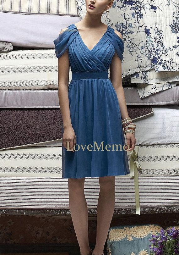 Royal blue sheath/column Chiffon/satin  bridesmaid by LoveMemo, $88.00