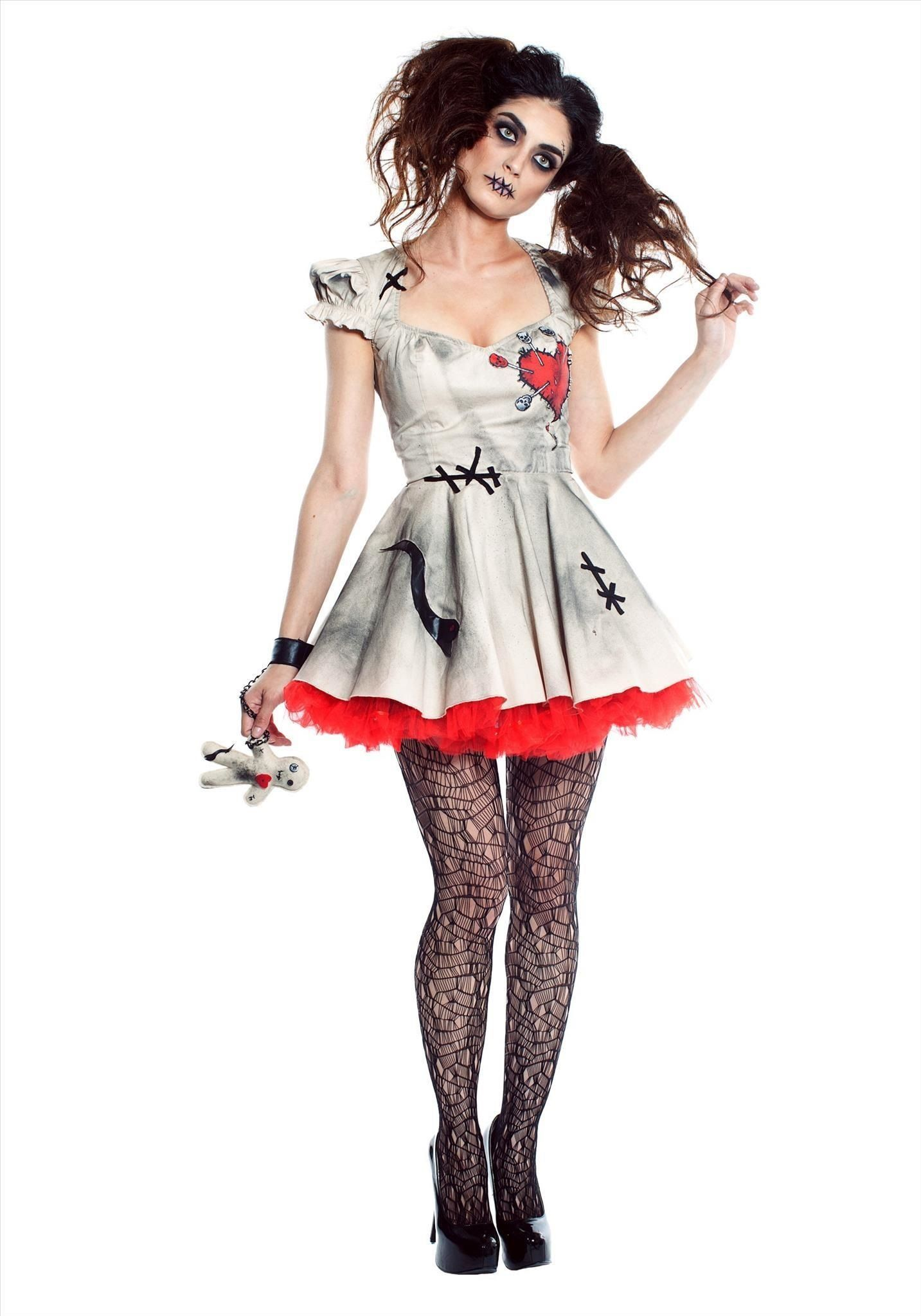 Freaky Voodoo Doll Womens Scary Horror Halloween New Fancy Dress Costume Outfit