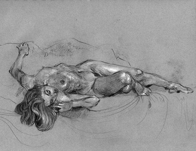 muscle woman lying back