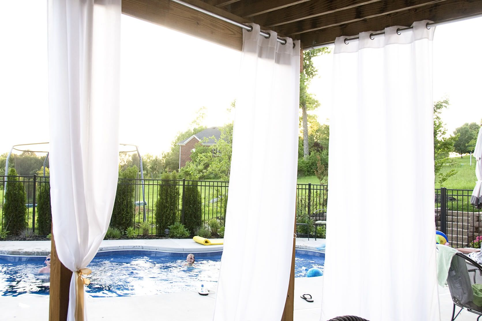 Hanging Outdoor Curtains - The Polkadot Chair