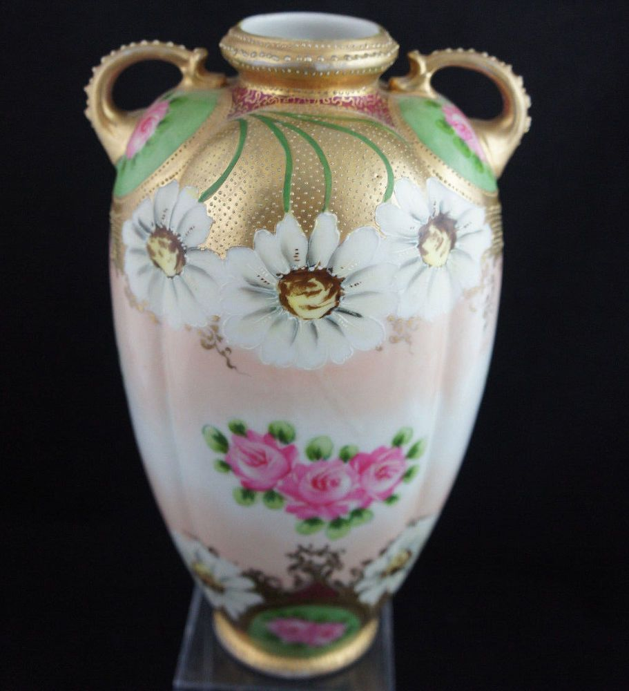 Antique nippon floral gold moriage beaded vase hand painted roses antique nippon floral gold moriage beaded vase hand painted roses 19c lovely nippon reviewsmspy