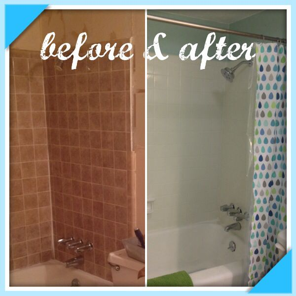 Rustoleum tub tile transformations in biscuit. It was really easy ...
